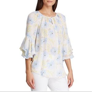 NWT Chaps Floral Peasant Top